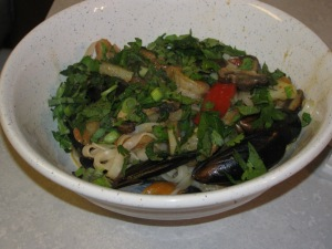 Shrimp and Mussel Thai Noodle Bowl
