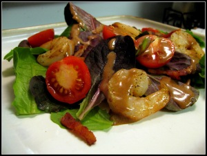 Balsamic Shrimp with Bacon Mixed Green Salad